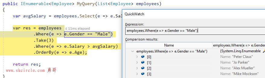 如何在C#中调试LINQ查询